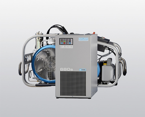 BAUER MARINER 320 breathing air compressor with the B-KOOL refrigeration dryer